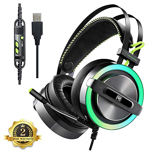 headsets gaming headset 7 1 surround sound gaming headphones noise cancelling over ear usb. Black Bedroom Furniture Sets. Home Design Ideas