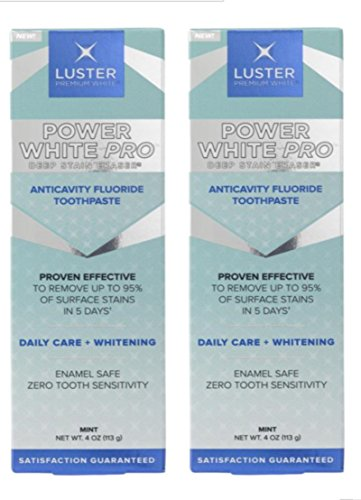 Luster Power White Pro Deep Stain Eraser, Teeth Whitening Toothpaste,  4 oz (Pack 2) by LUSTER PREMIUM WHITE