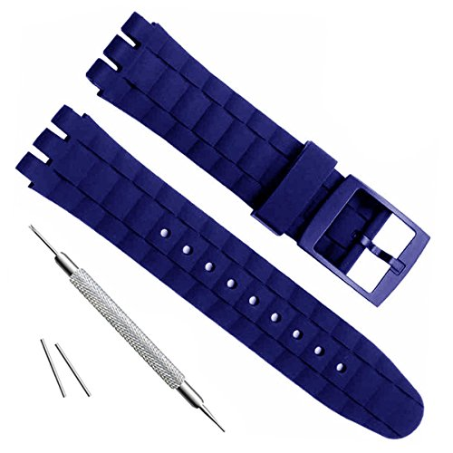 21mm Replacement Waterproof Silicone Rubber Watch Strap Watch Band (Blue)