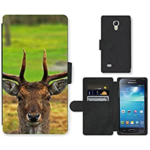 Hot Style Cell Phone Card Slot PU Leather Wallet Case // M99999103 Deer // Samsung Galaxy S4 Mini i9190