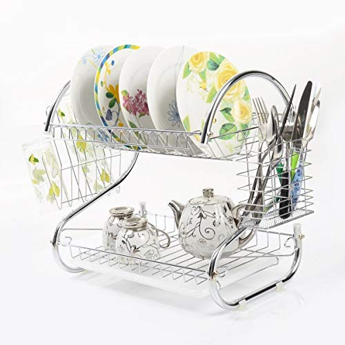 Cup Drying - 2 Tiers Dish Cup Drying Rack Drainer Dryer Tray
