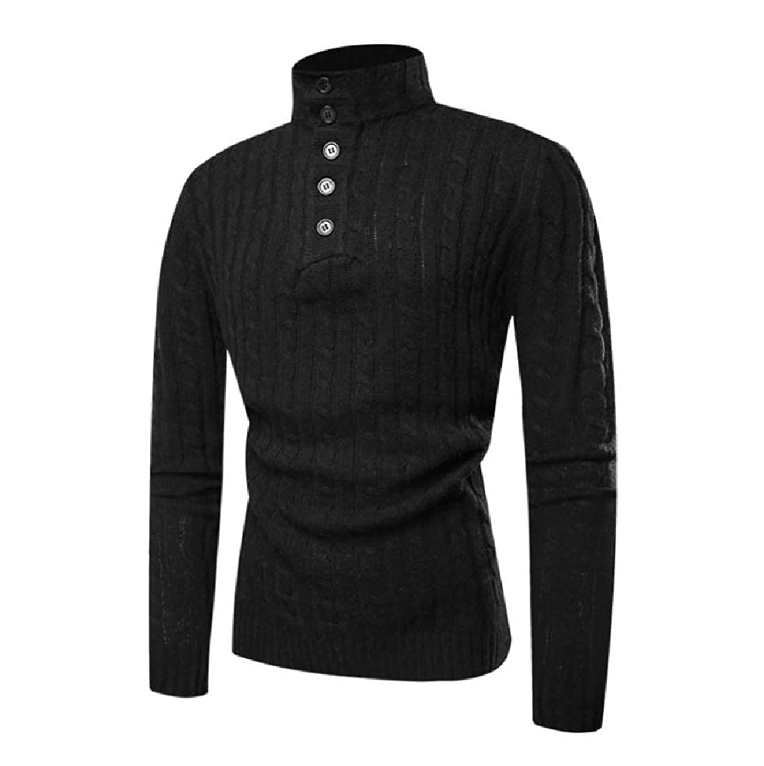 YUNY Mens Loose Buckle Graceful Tops Pullover High Neck Sweater Black S