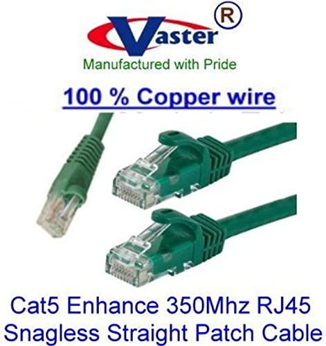 Green 20673 Vaster SKU Not CCA Wire 100/% Copper UL//ETL 24Awg Wire RJ45 Snagless Straight Patch Cable Cat5e 350Mhz Patch Cable 20 Ft // 20 Pcs//Pack