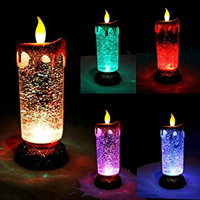 Joiedomi 2 Pack Flameless LED Candles with Glitter Swirls in 5 Colors, Battery or USB Cable Powered, Shimmering Christmas Globe Decoration Candles (2 Pack)