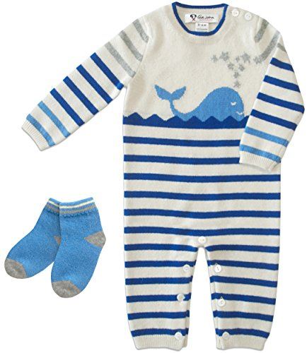 Gia John Cashmere Baby Layette and Socks Sets Romper Long Sleeve Cashmere Blue 3-12M (3-6m) (6-12M) (Cashmere Layette)