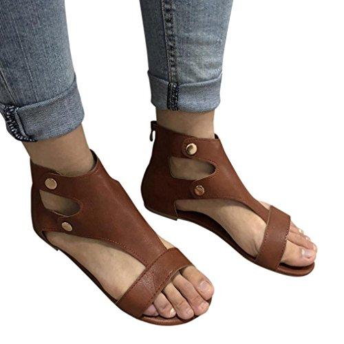 Hemlock Size 9 Flat Sandals Women Roman Shoes Slipper Platform Wedge Beach Sandals (US:8.5, Brown)