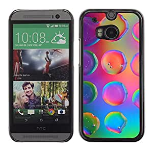 Impact Case Cover with Art Pattern Designs FOR HTC One M8 Water Droplets Colorful Neon Pink Bright Betty shop