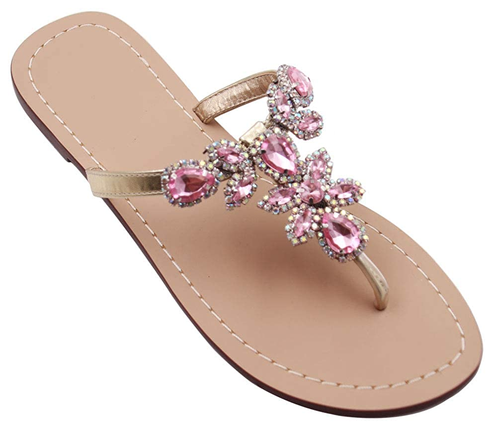 27145ffa5 Jeweled Sandals Women  s Flat Sandals Flip Flop Hinyyrin Available in 10  Colors Rhinestone Sandals Womens ...