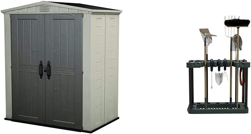Keter Factor 6x3 Outdoor Storage Shed Kit, Taupe & Brown & Stalwart Rolling Garden Fits 40 Tools Storage Rack Tower, (Model: 75-ST6010)
