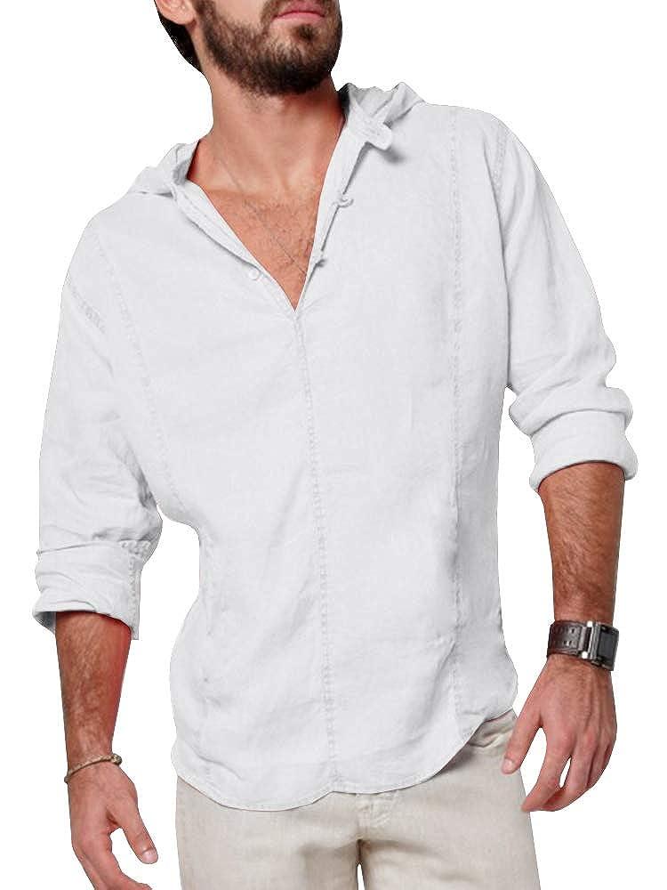 PASLTER Mens Hoodie Button Down Hippie Shirts Yoga Cotton Henley Shirts Regular Fit Casual Beach Shirt