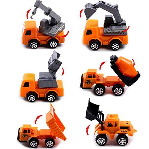 Ming-H 6パック ミニプルバックとスライド式建設車両 おもちゃ車 トラック ブルドーザー ミキサー フォークリフトモデルキット 子供用 幼児 子供用 MHLGZNO.30a