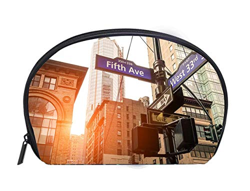 Half-moon Cosmetic Bag Fifth Ave and West 33rd sign in New York City Ladies Travel Convenience Small Wash Bag Storage Bag