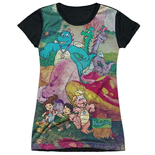 Other Cartoons Dragon Tales Series Playin in Mushroom Meadow Juniors Black Back T-Shirt Tee