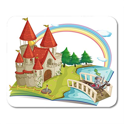 Emvency Mouse Pads Astle Green Storybook of Pop Up Book with Castle and Knight White Accommodation Brick Mouse Pad 9.5