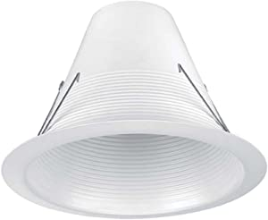 Commercial Electric 6 in. White Airtight Recessed Baffle Trim (6-Pack) 630328