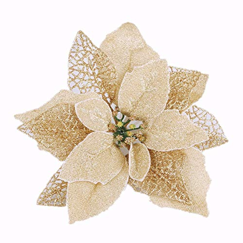 Osiga (Pack of 12) Glitter Poinsettia Christmas Tree Ornaments,Christmas Decorations Flower (Gold)