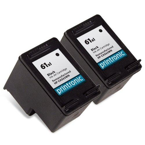 Printronic 2 Pack Remanufactured HP 61XL Ink Cartridge for HP Envy 4500 5530 Deskjet 2540 1510 2050 3050 OfficeJet 4630 Printers (2 Black)