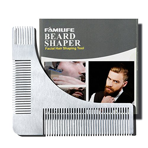 FAMILIFE Stainless Steel Grooming Guide Tool For Men's Beard Styling and Shaping Template Comb