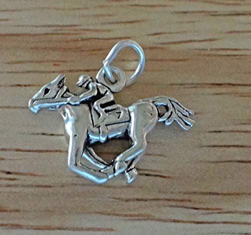 Sterling Silver 3D 15x20mm Horse & Jockey Horse Racing Race Charm Jewelry Making Supply, Pendant, Sterling Charm, Bracelet, Beads, DIY Crafting and Other by Wholesale Charms