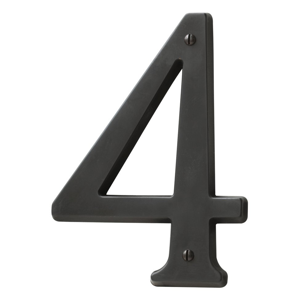 Baldwin Estate 90674.102.CD Solid Brass Traditional House Number Four in Oil Rubbed Bronze, 4.75''