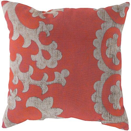 Surya RG023-1818 Indoor/Outdoor Pillow, 18-Inch by 18-Inch, Coral/Beige ()