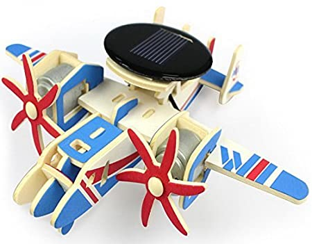 P310 ZODORE 3D Assembly Puzzles Solar Energy DIY Kit Aircraft Wood Plane Child Educational 3D Wooden Jigsaw Puzzle Toy