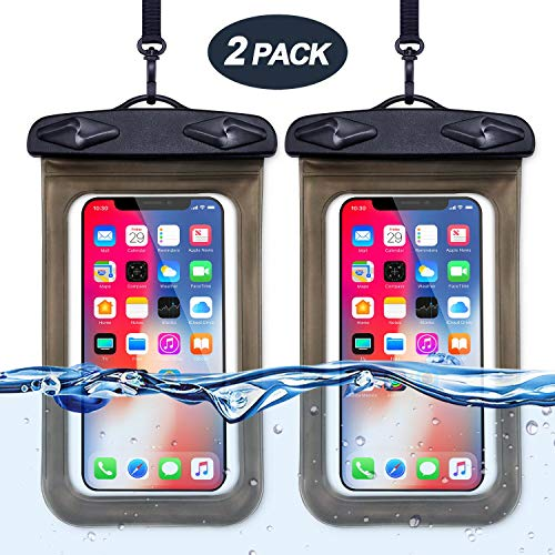 Egchi Universal Waterproof Phone Case, Cellphone Dry Bag Pouch Waterproof Case for Water Games Protect iPhone X 8 7 6 6s Plus Galaxy S9 S8 Edge Note Google Pixel LG HTC (2 Pack, Black)