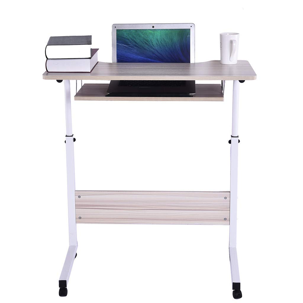 Kimanli Computer Table, Home Office Desk Can Be Raised and Lowered Mobile Computer Desk (White)