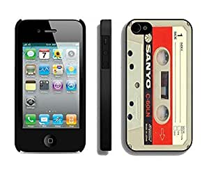 Apple Iphone 4s Case Durable Soft Silicone TPU Audio Cassette Retro Design Black Cell Phone Case Cover Accessories for Iphone 4