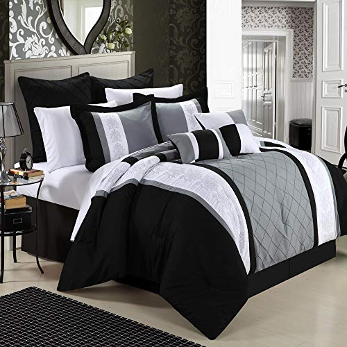 Chic Home 8-Piece Embroidery Comforter Set, Queen, Livingston Black (And Black Sets White Red Comforter)