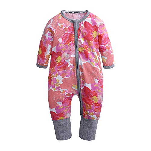 Kids Tales Baby Girls Long Sleeve Zipper Romper Baby Flower Print 1 Piece Pajama