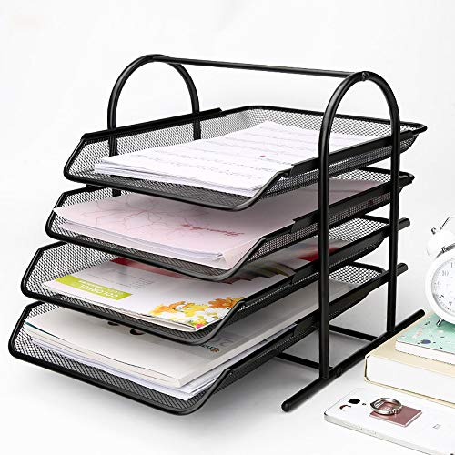 Sunny Lingt Creative 4-Layer Scratch-Resistant Stackable File Tray Metal Wire Mesh File Basket Information Frame Multi-Layer Storage Frame Office Supplies (Size : L)
