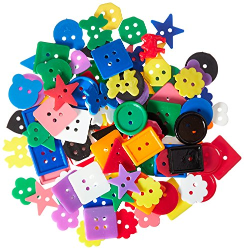 Darice Plastic Kids Buttons, Assorted Colors, Shapes & Sizes. -