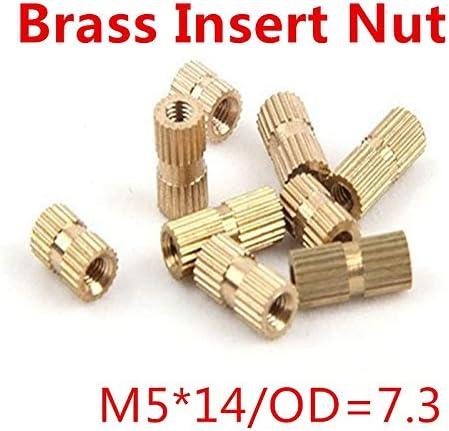 Bolt 唐铭鲆544162 100pcs//lot M514 M5 x 14 Blind End Brass Insert Nut Single Thread Brass Knurl Nut OD 7.3mm Nuts