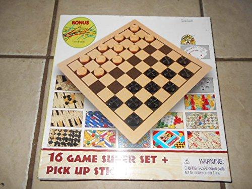 16 Game Super Set + Pick Up Sticks by Board Game Set
