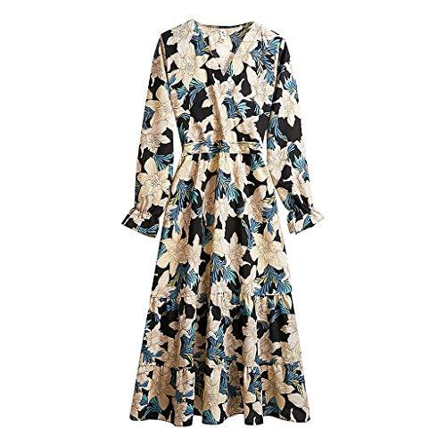 BALABA◕。Women's Sexy V Neck Floral Print Chiffon Dress Long Sleeve Ruffle Hem Elastic Waist Loose Pleated Bandage Dress Black from BALABA