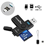 Rocketek USB 3.0 Memory Card Reader with 2 Slots SD / Micro SD Card Reader - Become an OTG Card Reader with an OTG adapter - Build in TF Card Protective Cap - Read 2 Memory Cards at The Same Time