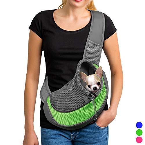 (YUDODO Small Pet Carrier Soft Dog Cat Rabbit Travel Sling Shoulder Bag for Walks(Green, S fits Less Than)