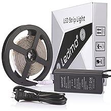 LEDMO Flexible LED Strip Light Kit,DC12V LED Light Strip,Super Bright 300 units SMD 2835 LEDs, Non-waterproof ,Cool White 6000K,16.4 Ft/5M,LED Tape+5A 12V Power Supply