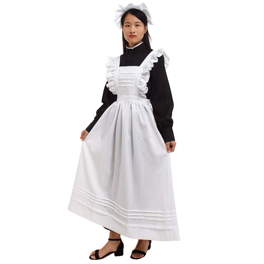 Victorian Clothing, Costumes & 1800s Fashion GRACEART Women Pilgrim Dress Victorian Maid Costume with Apron 100% Cotton $49.99 AT vintagedancer.com