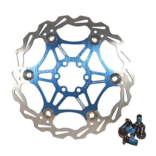 (DEERU Stainless Steel Bicycle Brake Disc Rotor 160 /180MM MTB Bike Rotor 6-Bolt Disc Rotor - 1 pc, Bolts Included (180mm-Blue))