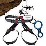 Climbing Harness + Figure 8 Descender Rigging Plate, AYAMAYA Half Body Harness Seat Belts Guide Protector & Rescue 8 Descender for Rope Rock Climbing Belaying Rappelling Fire Rescue Tree Work Arborist