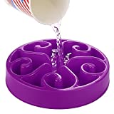 Viment Slow Feed Bloat Stop Dog Bowl Fun Feeder Slow Feed Bowl, Interactive Pet Feeder (Purple)