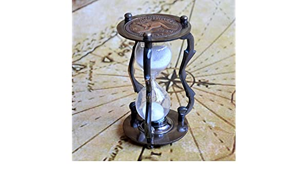 """Antique Brass Sand Timer 5/"""" Australian Penny Nautical Marine Hourglass With Case"""