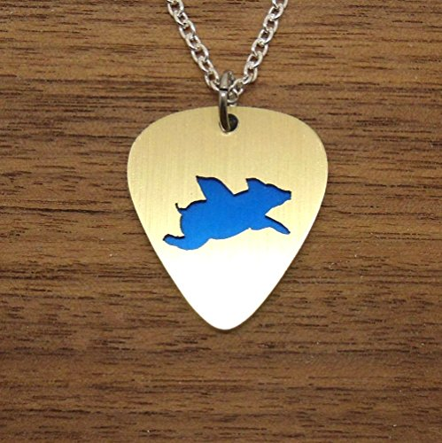 Blue Flying Pig Pendant Necklace Jewelry or Key Ring Made From Aluminum Guitar Picks (Overlay Ham)