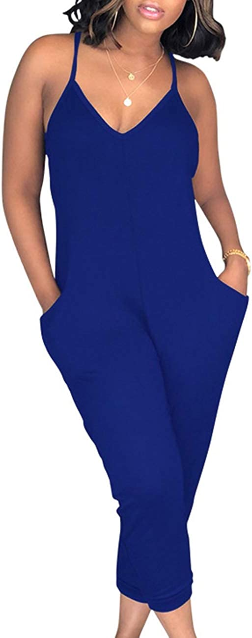 ECDAHICC Womens Cute Spaghetti Strap Solid Capri Jumpsuits One Piece V Neck Jumpsuit Rompers with Pocket Club