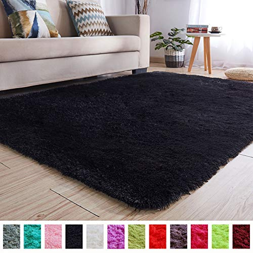 Majestic Square Two Light - PAGISOFE Soft Kids Rug Nursery Decor Bedroom Living Room Carpet 4' x 5.3',Black