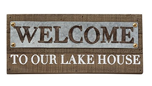 Welcome Sign Plaque (Mud Pie 4345101W Rustic Wood Welcome To Our Lake House Wall Plaque,Welcome)