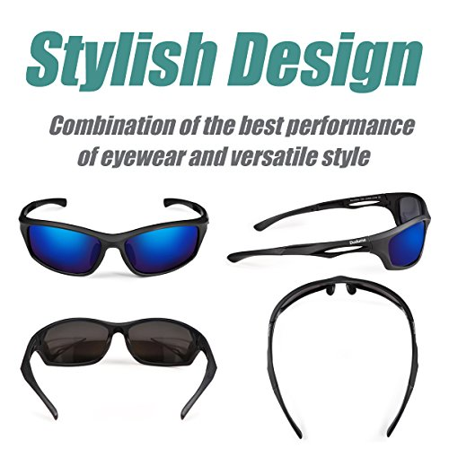 Fishing Sunglasses. Duduma Polarized Sports Sunglasses for Running Cycling Fishing Golf Tr90 Unbreakable Frame (black matte frame with blue lens) #fishing