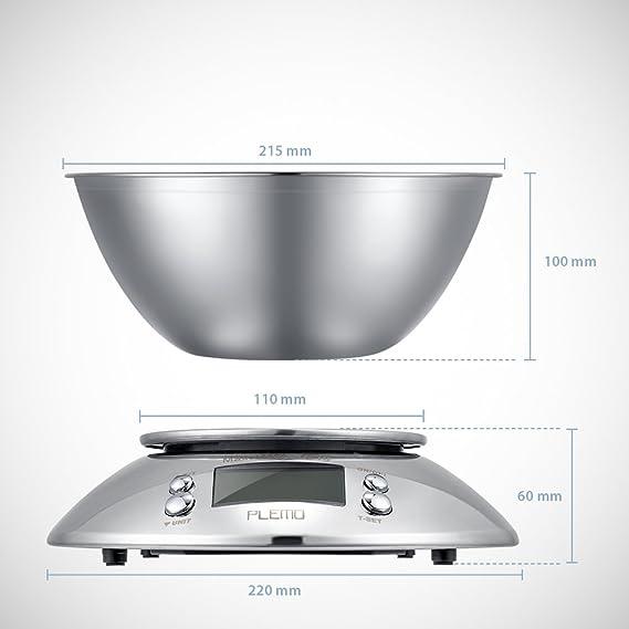 PLEMO Balanza de Cocina Báscula Digital para Cocina con Recipiente de Acero Inoxidable: Amazon.es: Hogar